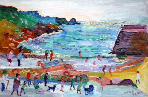 Fred Yates Figures at Lamorna Cove oil on board